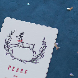 Hand Letter-pressed Peace on Earth Greeting Card