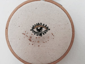 "READY TO SHIP, 3"" Machine Embroidered Evil Eye, Embroidery Hoop"