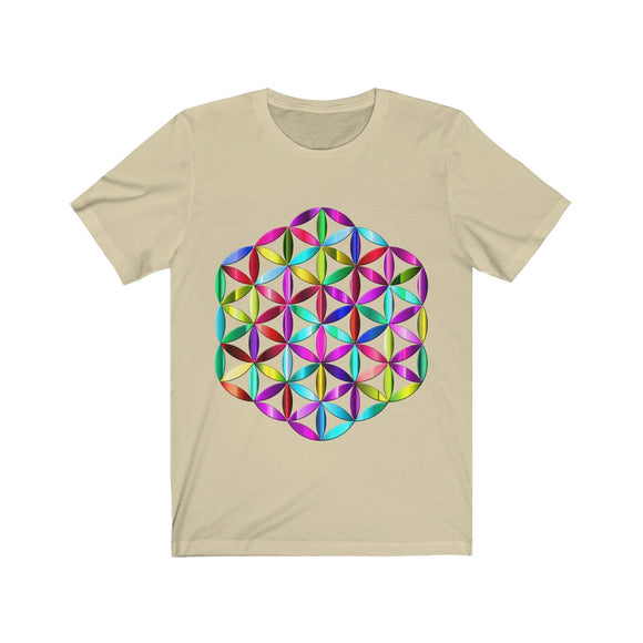 3D Flower of Life Sacred Geometry Colorful Unisex Premium T-Shirt - Shift+Alt+Paradigm Metaphysical Style & Supply