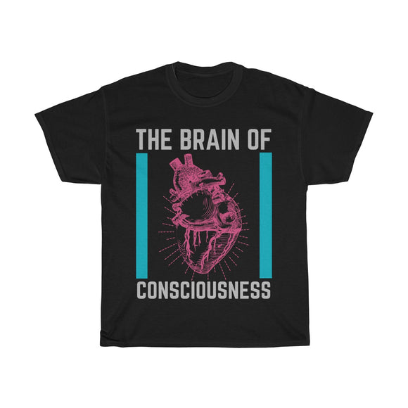 Heart: The Brain Of Consciousness Unisex Heavy Cotton T-shirt - Shift+Alt+Paradigm Metaphysical Style & Supply