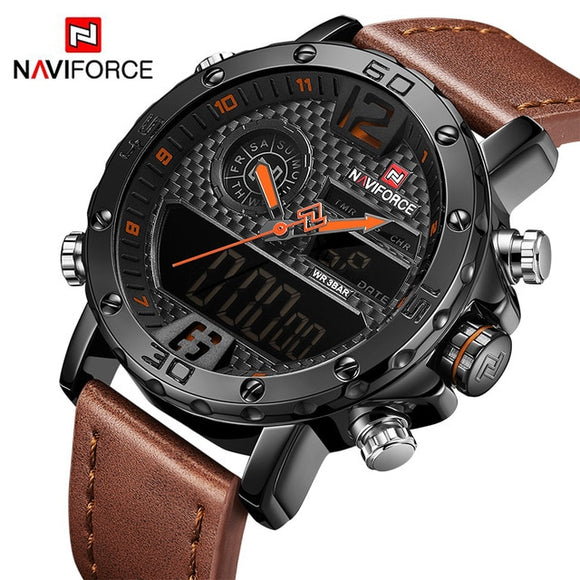 NAVIFORCE Men's Watch Quartz LED Digital Clock Waterproof Military Wrist Watch. - Shift+Alt+Paradigm Metaphysical Style & Supply
