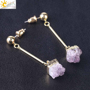 Women's Push Back Crystal Earring Irregular Stone Amethyst Charms Dangle Brinco. - Shift+Alt+Paradigm Metaphysical Style & Supply