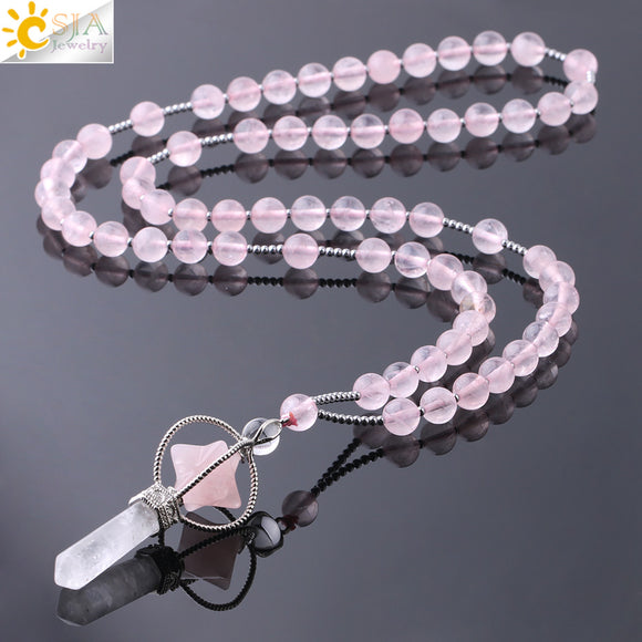 CSJA Natural Stone Long Necklace Women's Reiki Merkaba Pendant Crystal Necklaces Pink White Jewelry. - Shift+Alt+Paradigm Metaphysical Style & Supply