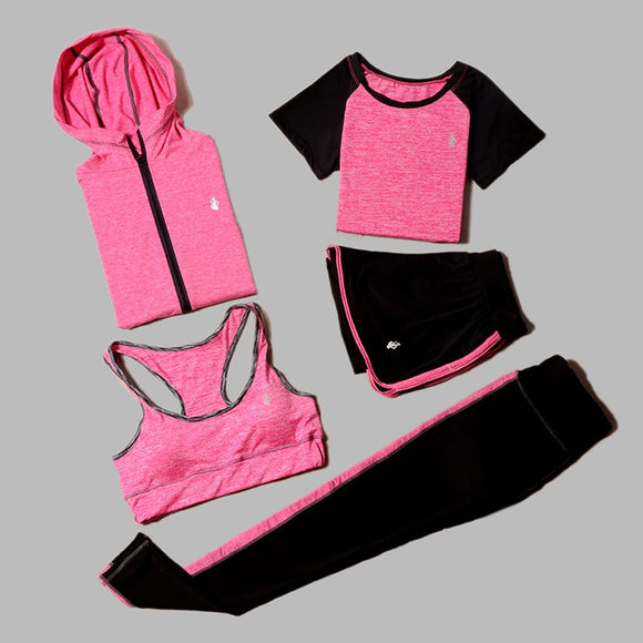 5 Piece Set Women's Yoga Outfit For Running Fitness T-Shirt Sports Bra Collection. - Shift+Alt+Paradigm Metaphysical Style & Supply