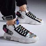 Casual Designer Streetwear Hip Hop Sneakers Lace-up Men Shoes Lightweight Breathable Walking Sneakers - Shift+Alt+Paradigm Metaphysical Style & Supply