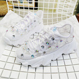 Women White Sneakers Fashion Rhinestone Ladies Platform Shoes Summer Breathable Flower Woman Casual Shoes zapatillas mujer 826w - Shift+Alt+Paradigm Metaphysical Style & Supply