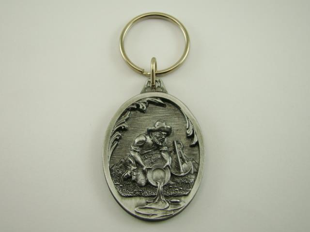 Old Gold Prospector Panning in a River Key Chain