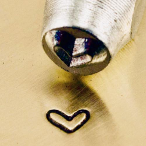 """Whimsy Love Heart"" 1/8""-3mm-Stamp-Metal-Hardened Steel-Gold&Silver Bars"