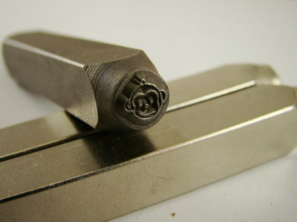 """Happy Monkey Face"" 1/4""-Large Stamp-Metal-Hardened Steel-Gold&Silver Bars"
