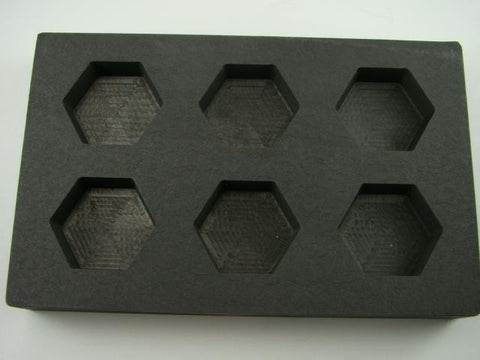 5 oz  Hexagon Gold Bar High Density Graphite Mold  6-Cavities - 3oz Silver-Scrap