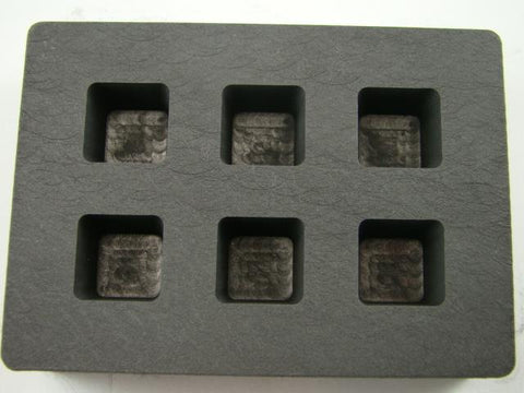 1 oz Gold Bar Cube High Density Graphite Mold 1/2 Silver 6-Cavities Copper