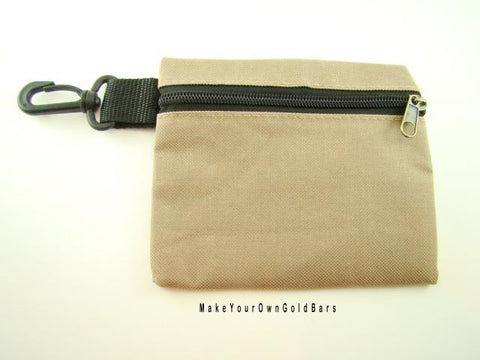 "Tan Zippered Pouch 6"" X 5"" Storage-Gun-Cell-Flashlight-Camping-Survival Tactial"