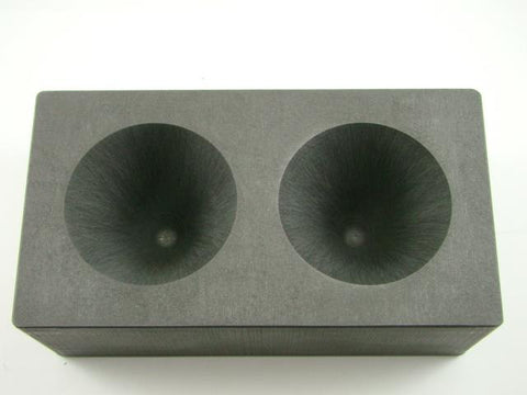 High Density Graphite Conical Mold- Assay Gold Silver Black Sand Cone 2 Cavity