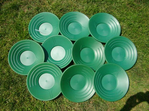 "Lot of 10 Large 14"" Green Gold Pans Panning + Snuffer-Never to many Pans! Sluice"