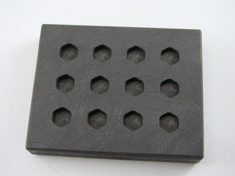 1.5 Gram Hexagon Gold & Silver Bar High Density Graphite Mold 12 Cavity