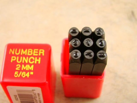 "5/64""  2MM  9 Number Punch Stamp Set  Metal-Steel-Hand-Serial#-Trailer-Tool"