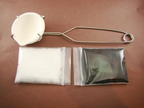 Crucible Dish & Tong Kit + Borax & Chapman Flux-Gold Recovery-Melting-Silver 400