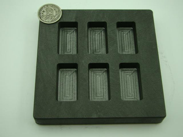 1 oz x 6 High Density Graphite Mold Gold Bar-1/2 Silver 6-Cavities Copper/Scrap