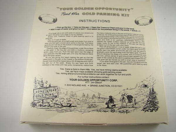Colorado Real 49'er Gold Panning Kit Miner Paydirt Pan-Vintage Gift-Instructions