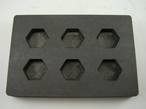 High Density Graphite Hexagon Mold 1oz Gold Bar Loaf 6-Cavities1/2oz Silver