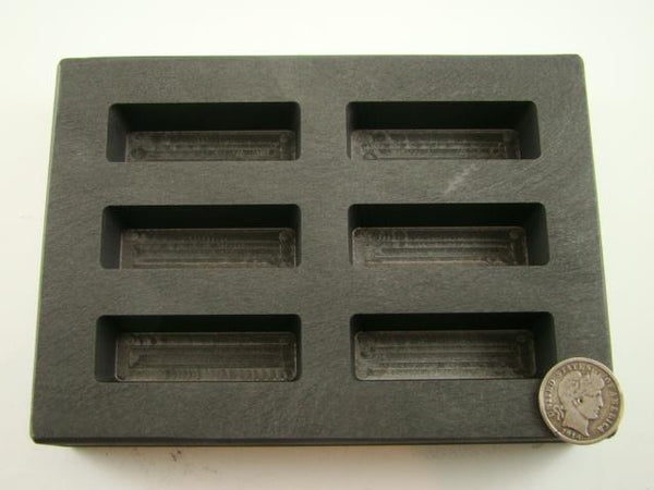 High Density Graphite KitKat Mold 3oz Gold Bar Silver 6-Cavities Scrap USA MADE