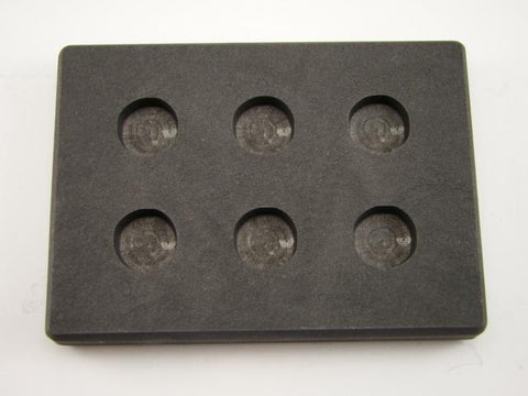 1/4 oz x 6 Round Gold Bar High Density Graphite Mold 6-Cavities - 1/8 oz Silver