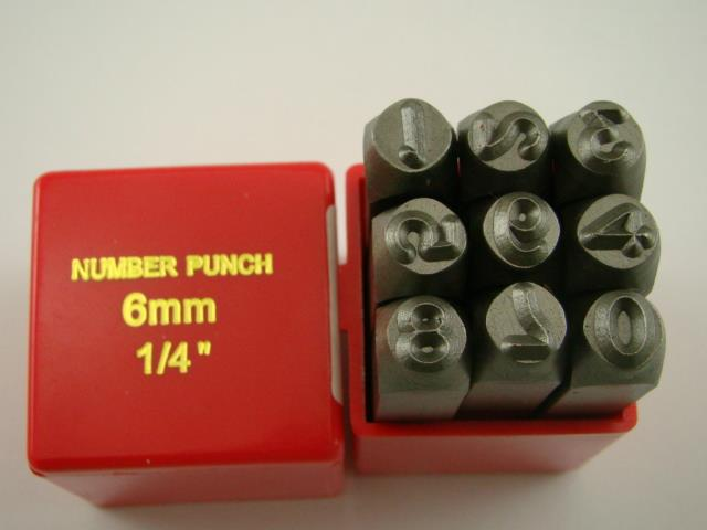 "1/4"" 9 Number Punch Stamp Set Hardned 40 CRV Steel Metal 64 HRC Heavy Duty"