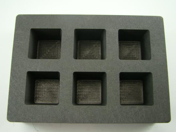 High Density Graphite Cube Mold 5 oz Gold Bar 2.5 oz Silver 6-Cavities Copper