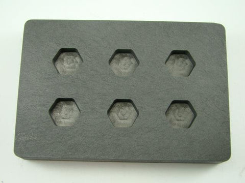 High Density Graphite Mold 1/4 oz Hexagon Gold Bar  Silver 6-Cavities Scrap