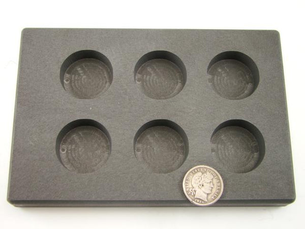 2 oz x 6 Round Gold Bar High Density Graphite 6-Cavities - 1 oz Silver Coin