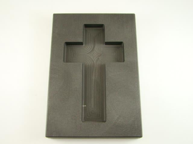 10 oz Custom Cross Gold High Density Graphite Mold 5 oz Silver Necklace 3-3/4""