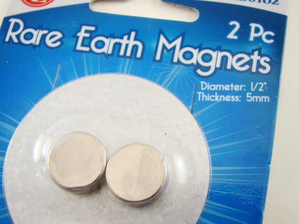 "2-Rare Earth Magnets 8Lb -1/2"" Diameter-5/32"" Thick-Prospecting-Meterorite-B11"