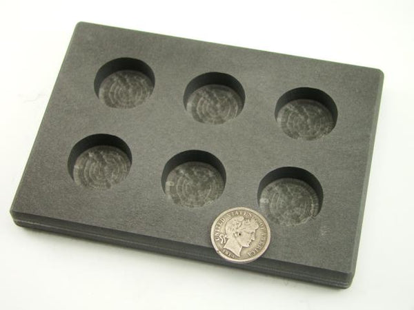 1 oz x 6 Round Gold Bar High Density Graphite Mold 6-Cavities - 1/2 oz Silver