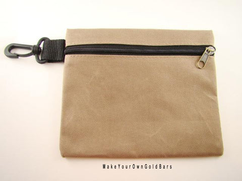 "Tan Zippered Pouch 7"" X 6"" Storage-Gun-Cell-Flashlight-Camping-Survival"