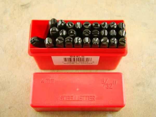 "5/32""  4MM Letter Punch Stamp Set  Metal-Steel-Hand A-Z -Part Codes-Names-Gold"