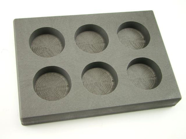 5 oz x 6 Round Gold Bar High Density Graphite Mold 6-Cavities - 3oz Silver Bars