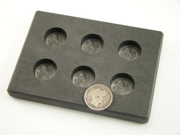 1/2 oz x 6 Round Gold Bar High Density Graphite Mold 6-Cavities - 1/8 oz Silver