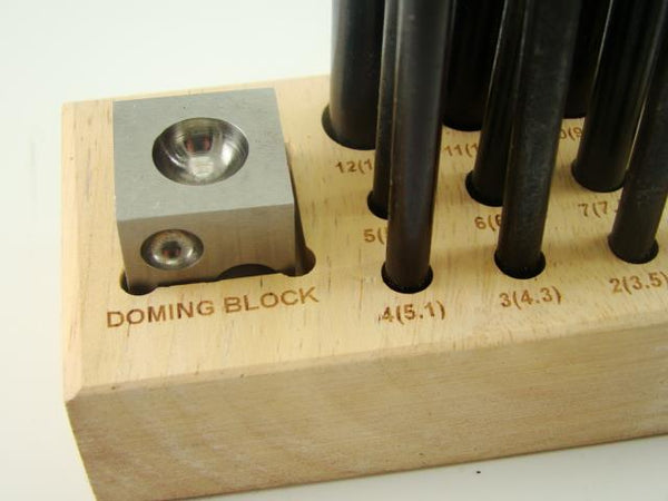 14pc Dapping Block & Punch Set-Gold-Silver-Jewelry-Metal-Wood Stand Included
