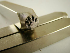 """Paw Print Solid"" 1/8""-3mm-Large Stamp-Metal-Hardened Steel-Gold & Silver Bars"