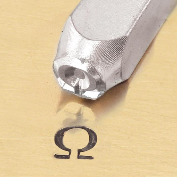 """Greek-Omega-Sign"" 1/4""-6mm-Large Stamp-Punch-Metal-Steel-Gold & Silver Bars"