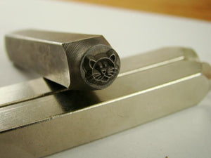 """Kitty Cat Face"" 1/4""-6mm-Large Stamp-Metal-Hardened Steel-Gold&Silver Bars"