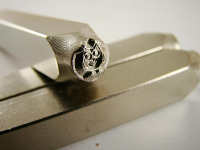 """Hootie Owl"" 1/4""-6mm-Large Stamp-Metal-Hardened Steel-Gold&Silver Bars Copper"
