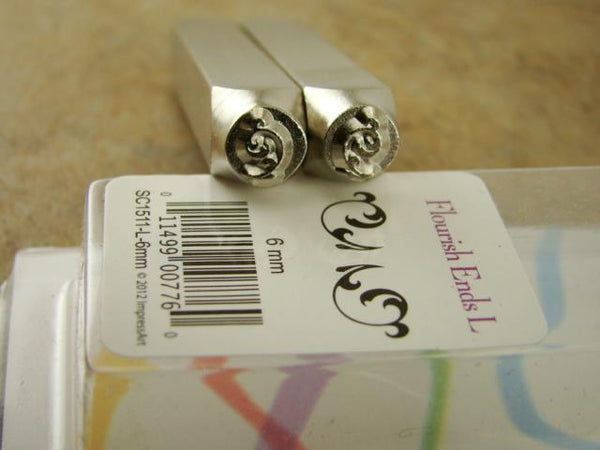 """Whimsy Flourish Ends/Corners Set "" 1/4""-6mm-Stamp-Metal--Gold&Silver Bars"