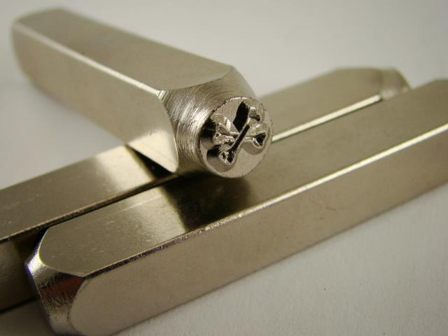 """CrossBones"" 1/4""-6mm-Large Stamp-Metal-Hardened Steel-Gold&Silver Bars"
