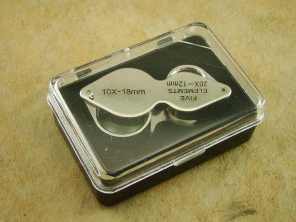 Dual 10X & 20X Power Jeweler's Loupe - Pocket size in Case - Minerals-Ore-Gold