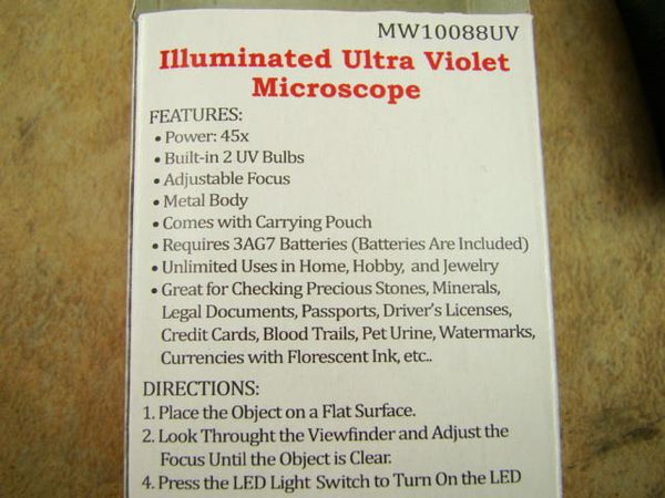 UV LED Lighted Mini Micrscope 16X Power Adjustable Focus - Gold Minerials Gems