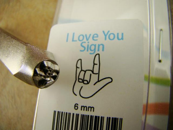 """I Love You"" Sign 1/4""-6mm-Large Stamp-Metal-Leather-Wood-Gold & Silver Bars"
