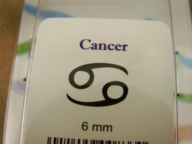 """Cancer"" 69 Sign 1/4""-6mm-Large Stamp-Metal-Leather-Wood-Gold & Silver Bars"