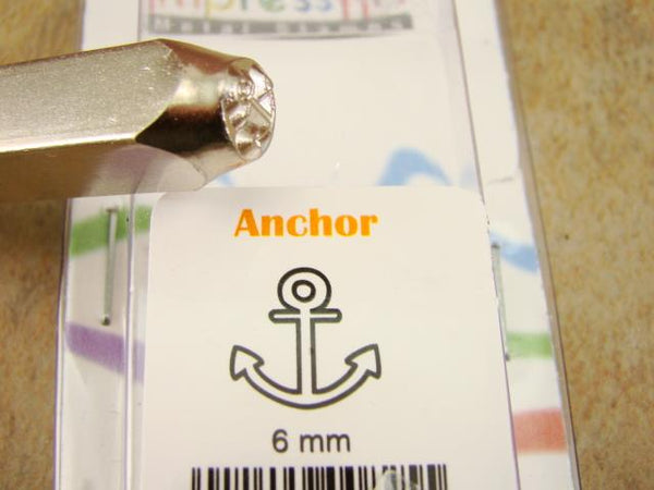 """Boat Anchor"" 1/4""-6mm-Large Stamp-Metal-Hardened Steel-Gold & Silver Bars Ship"