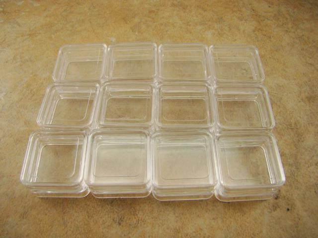 Lot of 12pcs Plastic Storage Containers-Gold Nuggets-Beads-Ore Samples Stackable